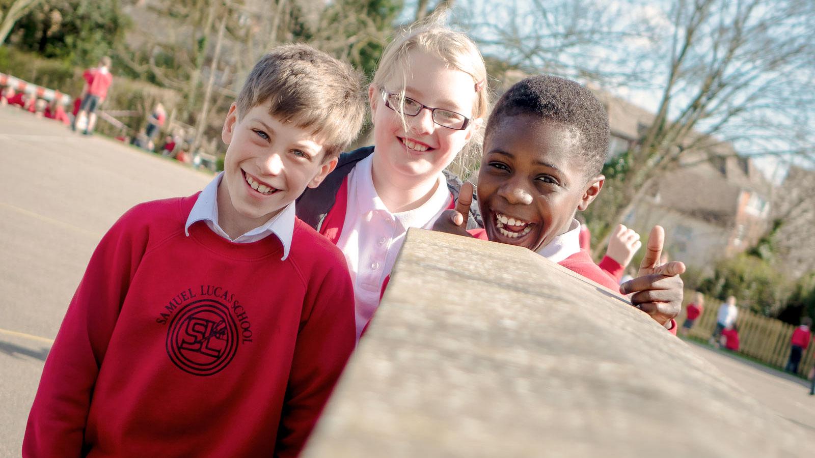 Three Children in Playground