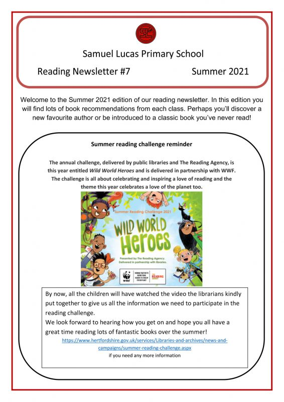 Reading Newsletter No. 7 July 2021 - Page 1
